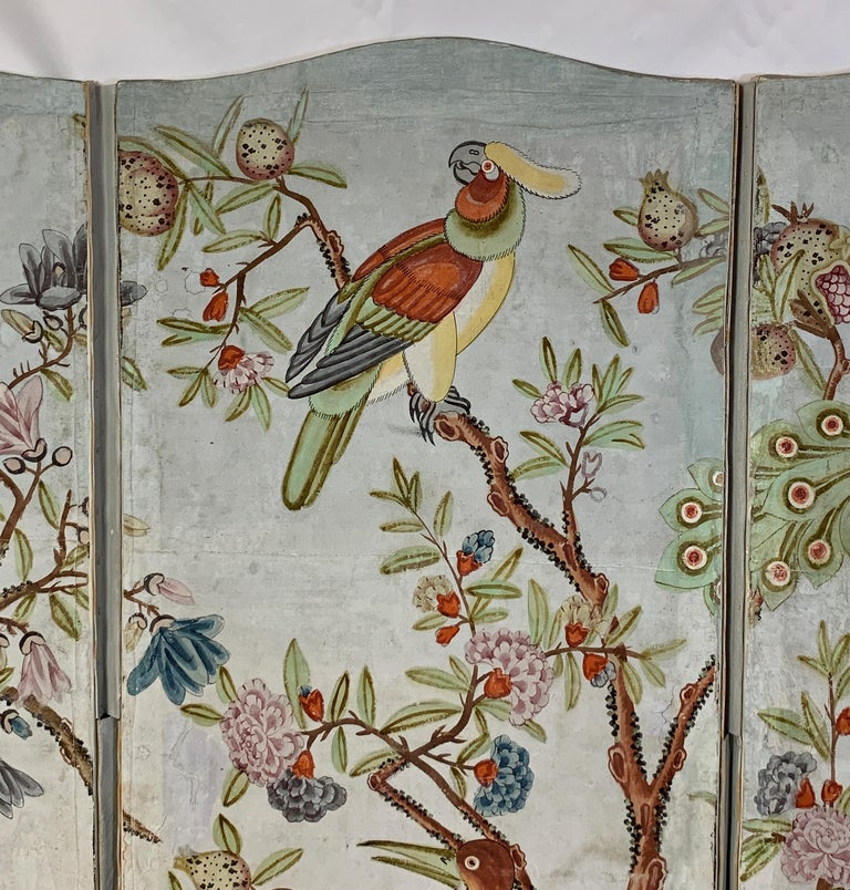 20th Century Hand Painted Four Panel Folding Screen in the Style of Gracie or de Gournay For Sale