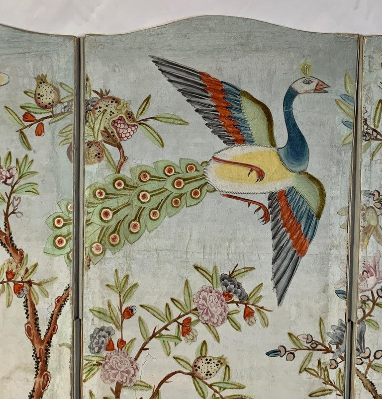 Paper Hand Painted Four Panel Folding Screen in the Style of Gracie or de Gournay For Sale