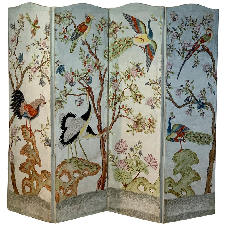 Hand Painted Four Panel Folding Screen in the Style of Gracie or de Gournay For Sale