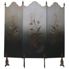 Hand Painted French Art Nouveau Fire Screen, circa 1910