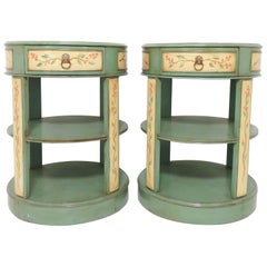 Hand Painted French Country Drum Side Tables
