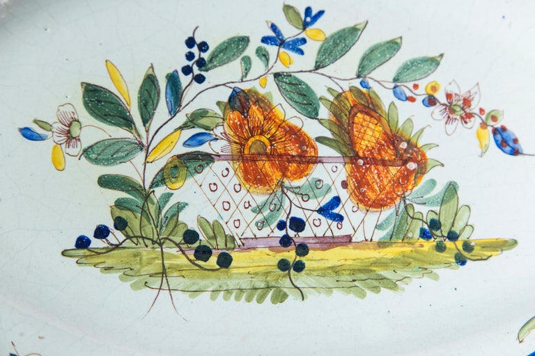 Ceramic Hand Painted French Faience Platter, Early 19th Century For Sale