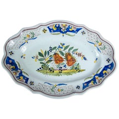 Hand Painted French Faience Platter, Early 19th Century