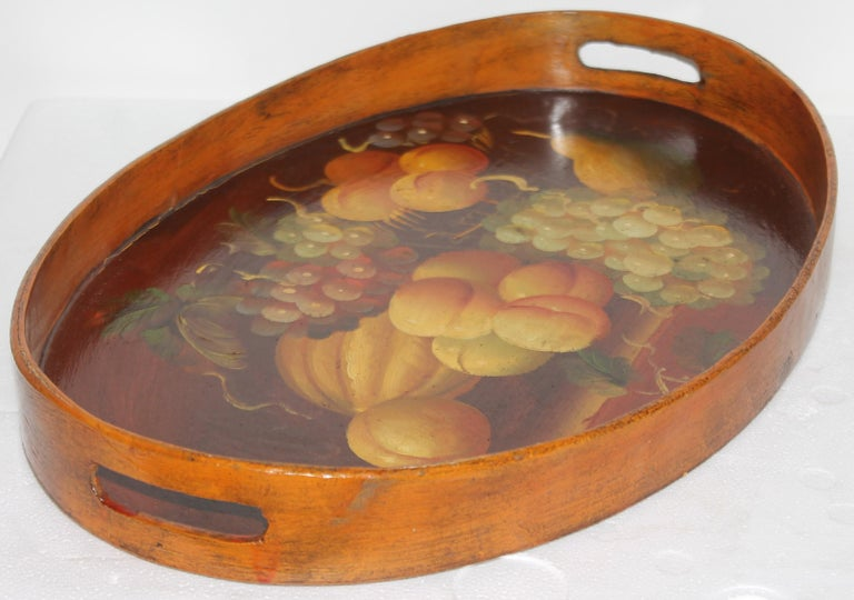 Folk Art Hand Painted Fruit on Wood Serving Tray For Sale