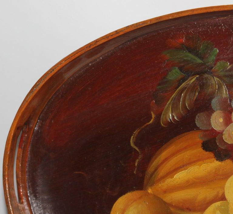 Hand Painted Fruit on Wood Serving Tray In Good Condition For Sale In Los Angeles, CA