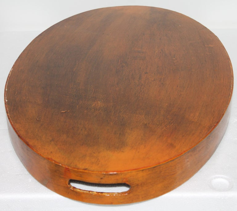 Early 20th Century Hand Painted Fruit on Wood Serving Tray For Sale