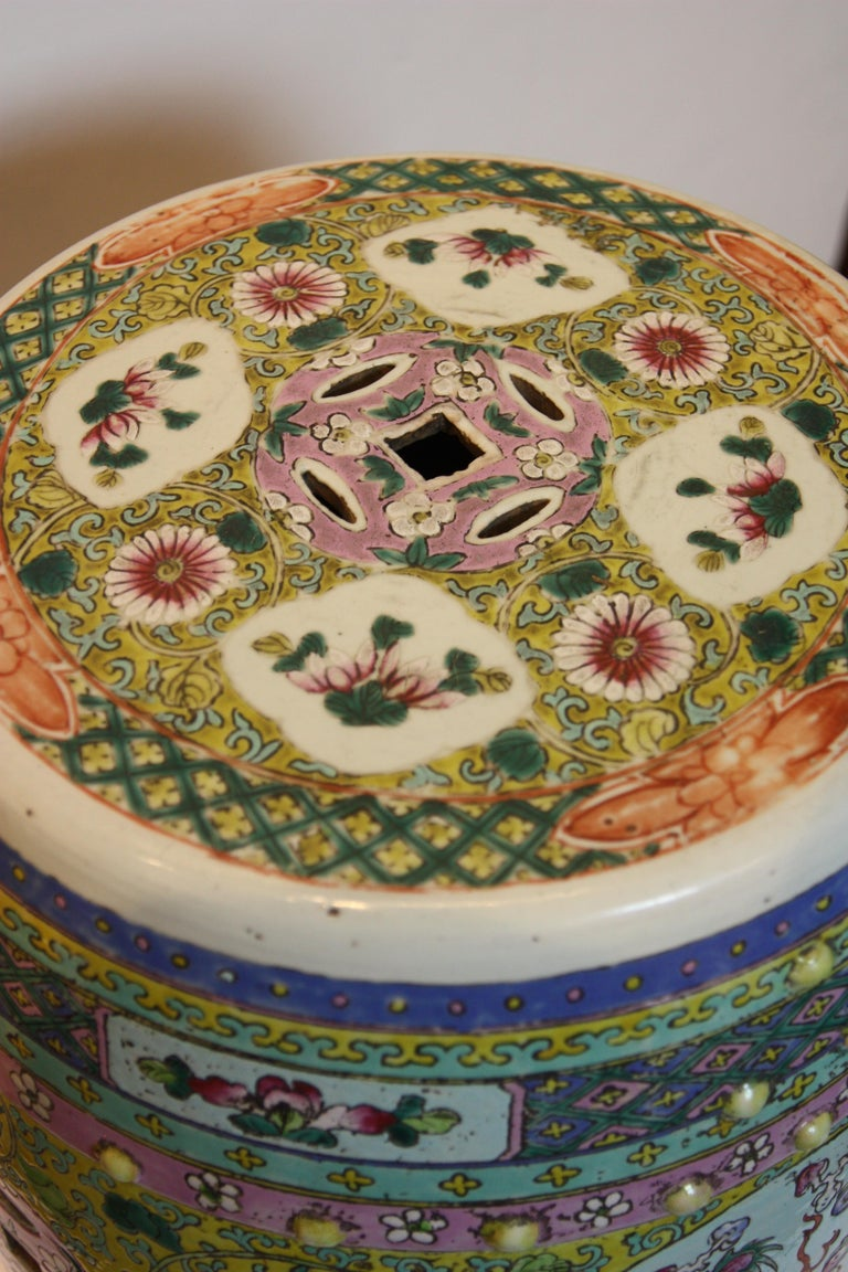 Chinese Export Hand-Painted Garden Seat with Floral Design and Dragon Imagery For Sale
