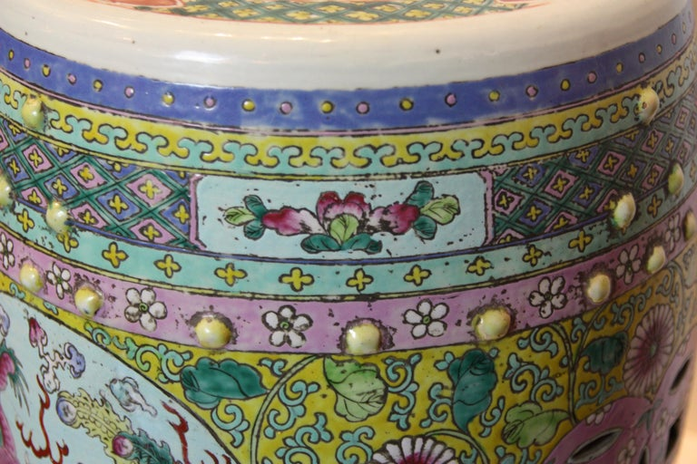 Asian Hand-Painted Garden Seat with Floral Design and Dragon Imagery For Sale
