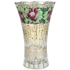 Hand Painted Glass Vase Art Nouveau, Austria, circa 1920