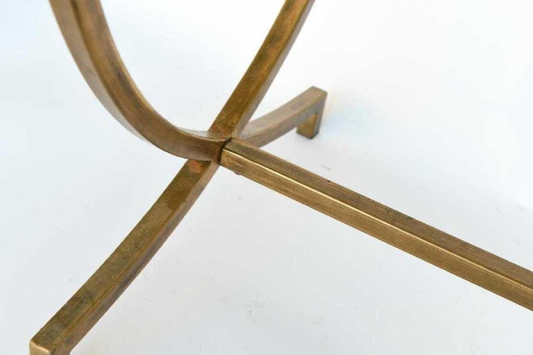 Art Deco Hand Painted Gold Bronze and Glass Side Table For Sale