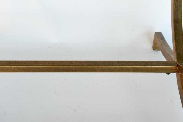 Hand-Painted Hand Painted Gold Bronze and Glass Side Table For Sale