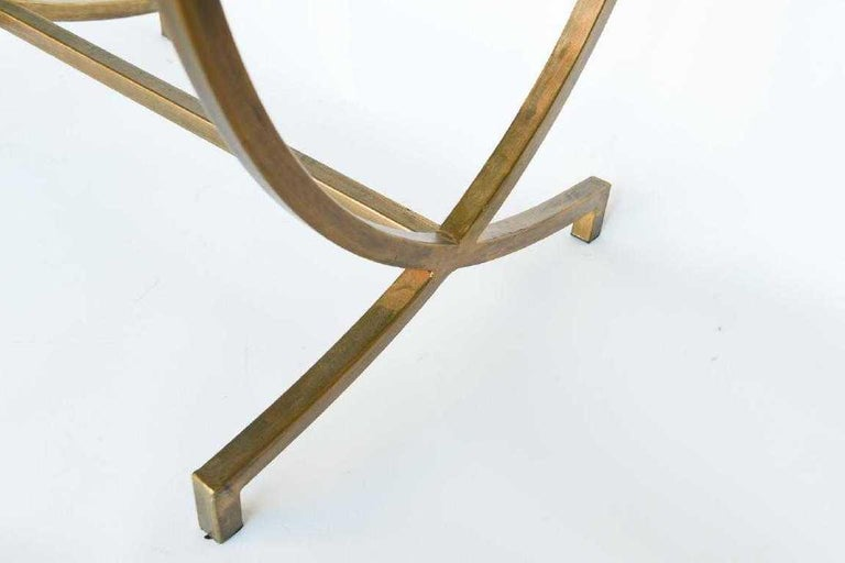 Contemporary Hand Painted Gold Bronze and Glass Side Table For Sale