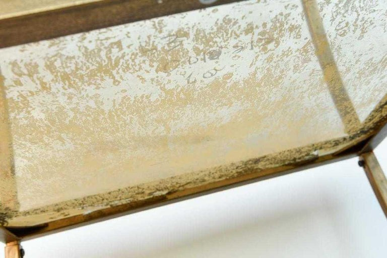 Hand Painted Gold Bronze and Glass Side Table For Sale 2