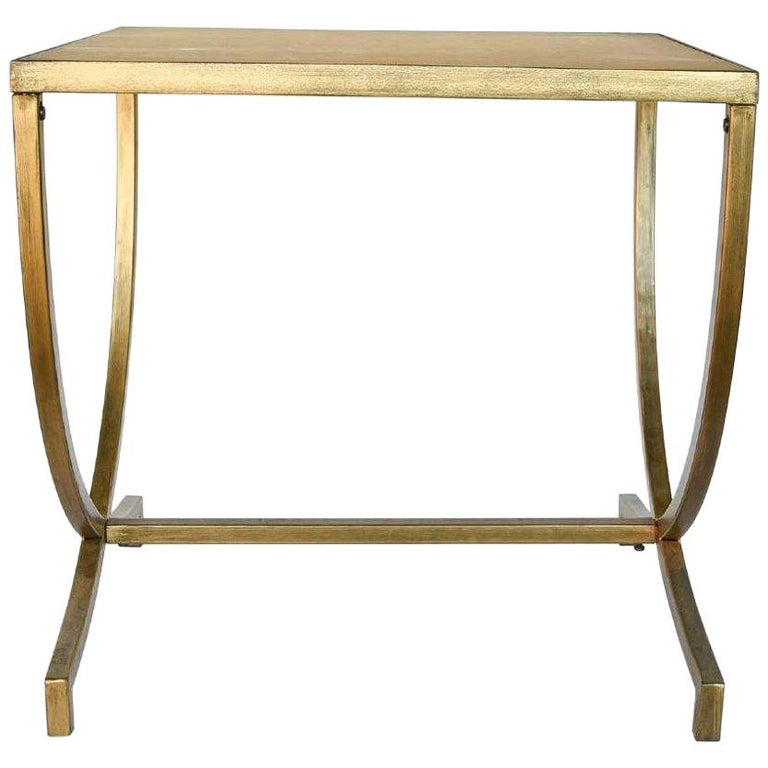 Hand Painted Gold Bronze and Glass Side Table For Sale