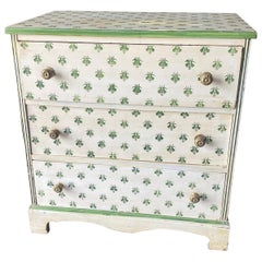Hand Painted Green and Cream 3 Drawer Chest with Bees Dorothy Draper Style