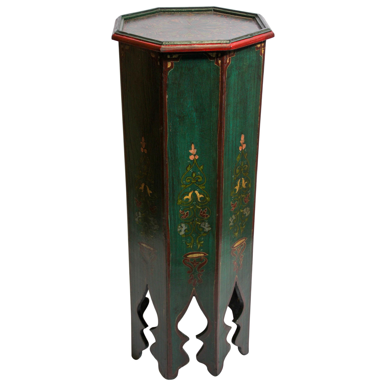 Hand Painted Green Moroccan Moorish Pedestal Table