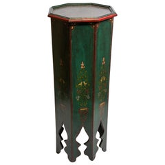 Hand Painted Green Moroccan Moorish Pedestal Table
