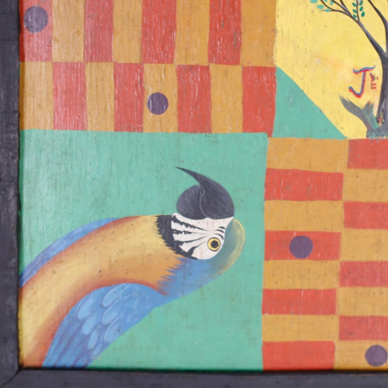 Hand Painted Haitian Game Board In Good Condition For Sale In Palm Beach, FL