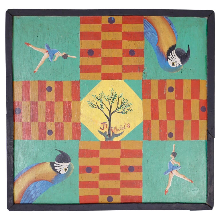 Hand Painted Haitian Game Board For Sale