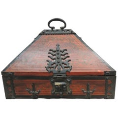 Hand Painted Indian Decorative Box with Hand Forged Iron Details