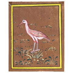 Hand Painted Indian Folk Art of a Pink Bird with Yellow Background on Paper