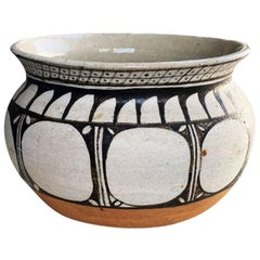 Hand Painted Indian Round Folk Art Ceramic Planter or Vase in Brown and Orange