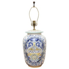 Hand Painted Italian Armorial Style Pottery Lamp