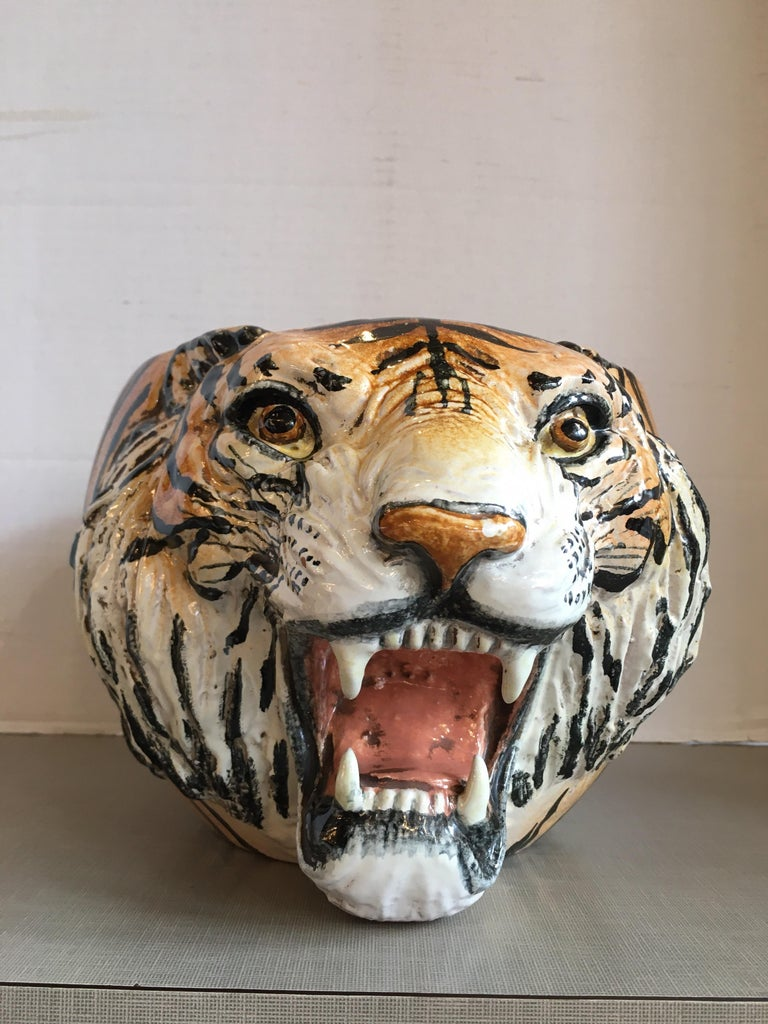 Hand painted, very detailed, ceramic tiger planter from Italy