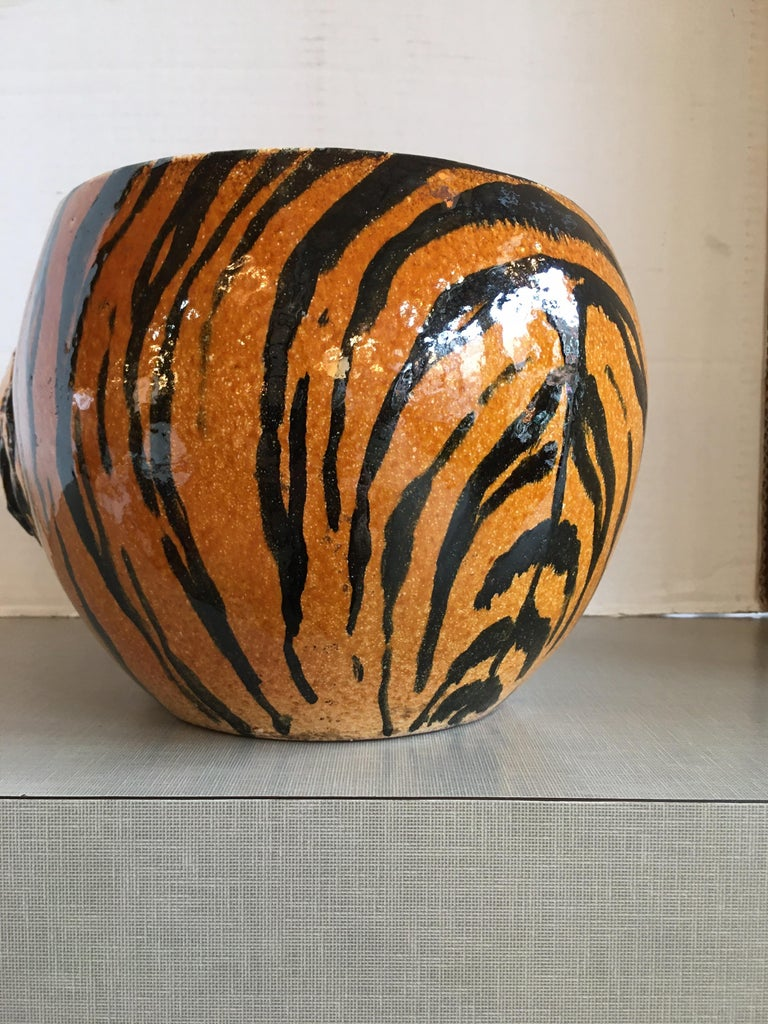 Mid-20th Century Hand Painted Italian Ceramic Tiger Planter For Sale