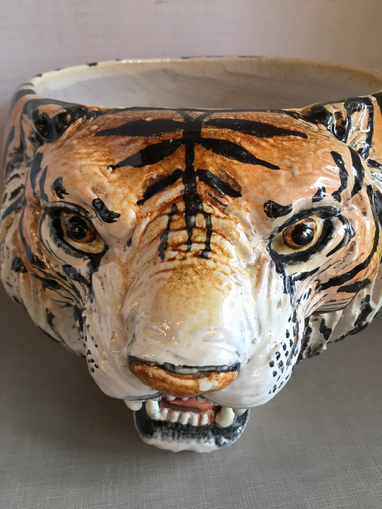 Hand Painted Italian Ceramic Tiger Planter For Sale 1