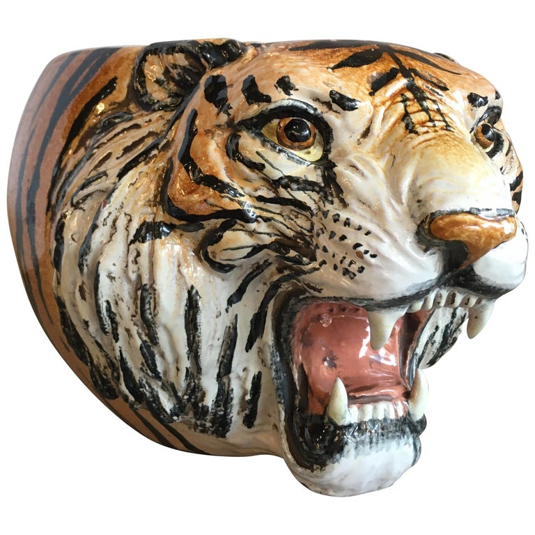 Hand Painted Italian Ceramic Tiger Planter For Sale