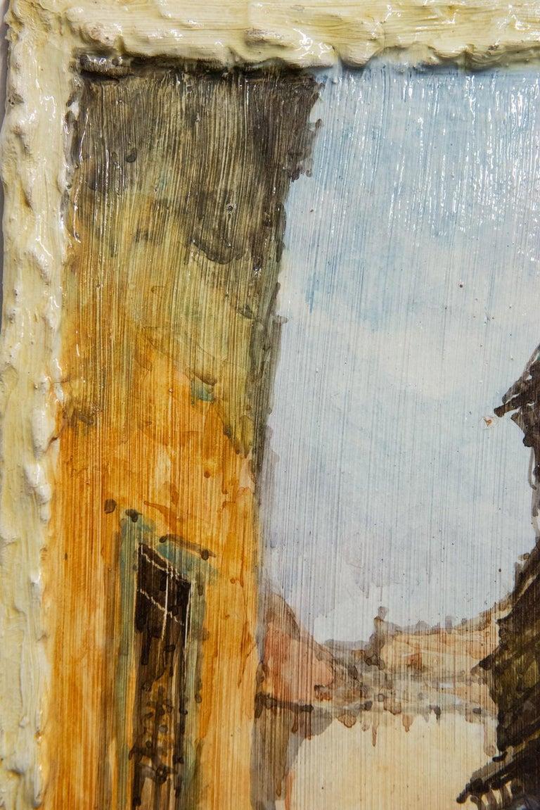 Hand Painted Italian Landscape Ceramic Panel For Sale 4