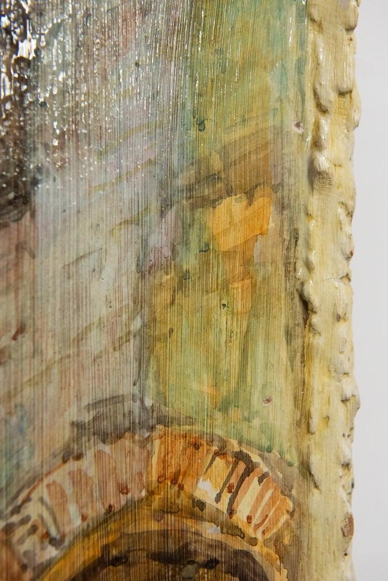 Hand Painted Italian Landscape Ceramic Panel For Sale 5