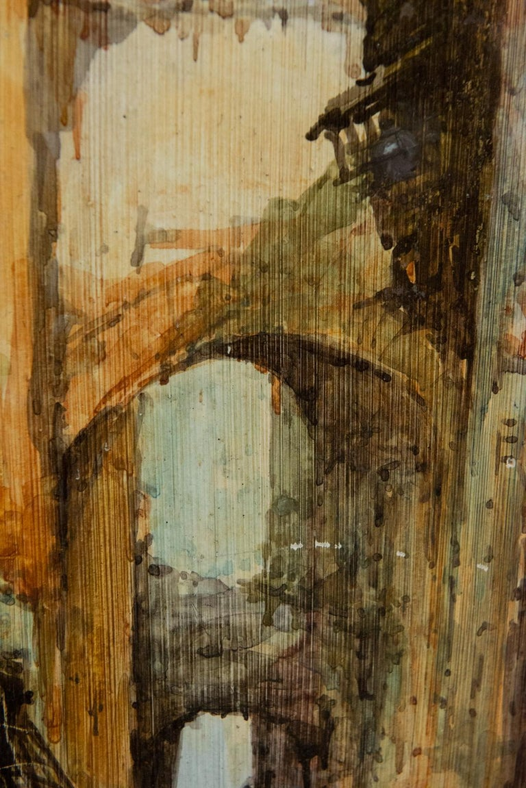 Hand Painted Italian Landscape Ceramic Panel For Sale 6