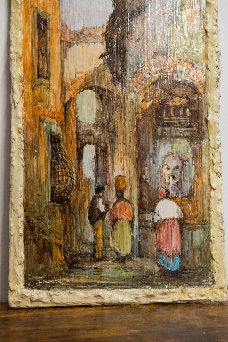 Expressionist Hand Painted Italian Landscape Ceramic Panel For Sale