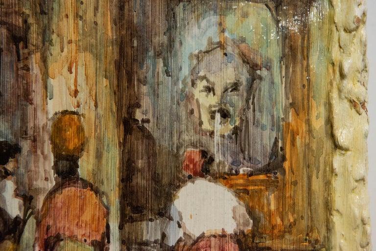 20th Century Hand Painted Italian Landscape Ceramic Panel For Sale