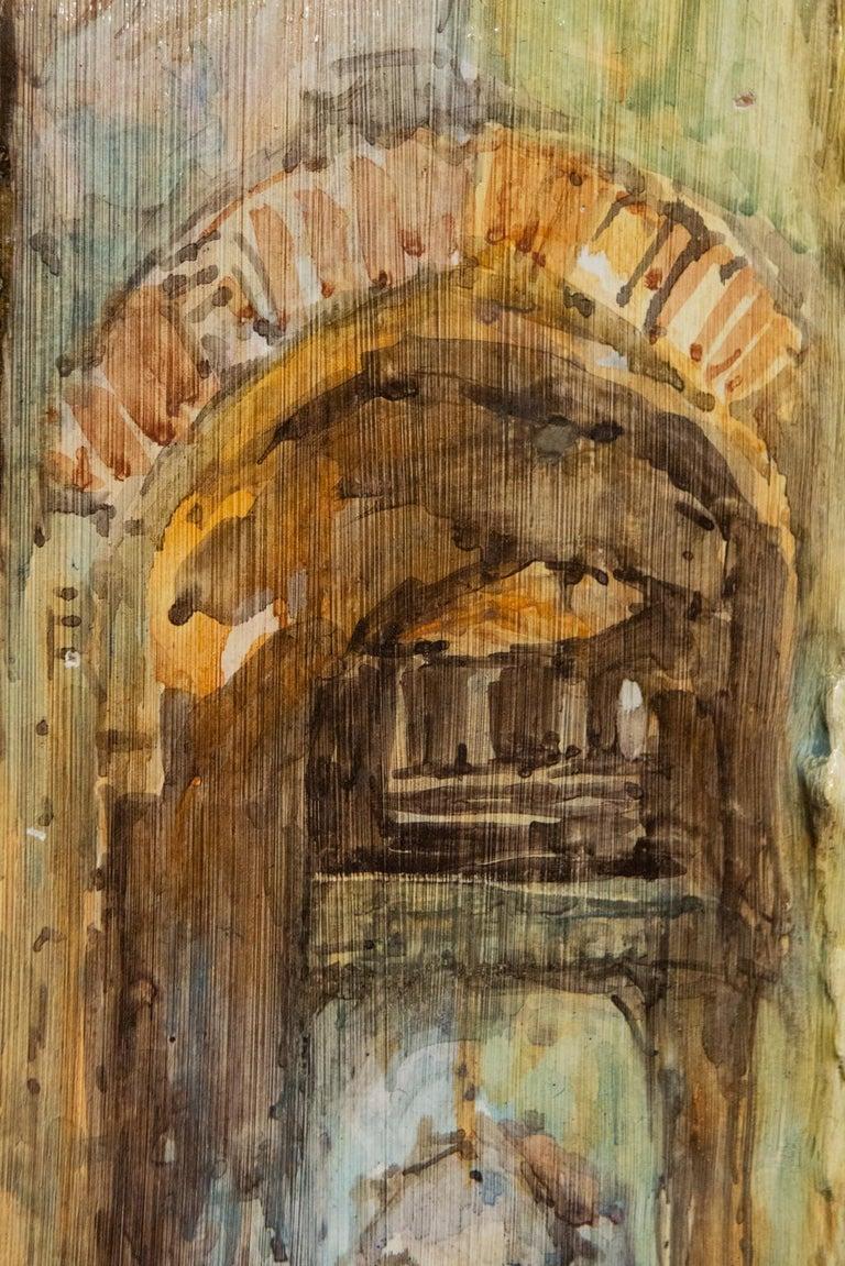 Hand Painted Italian Landscape Ceramic Panel For Sale 2
