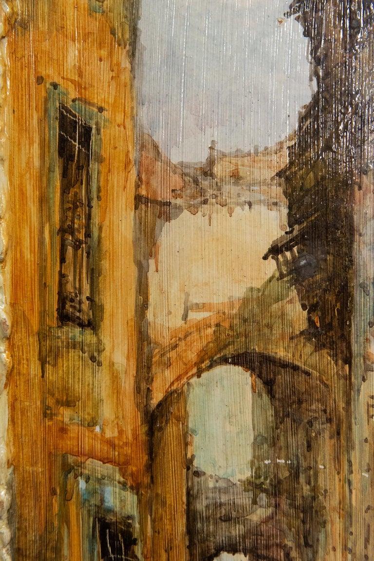 Hand Painted Italian Landscape Ceramic Panel For Sale 3