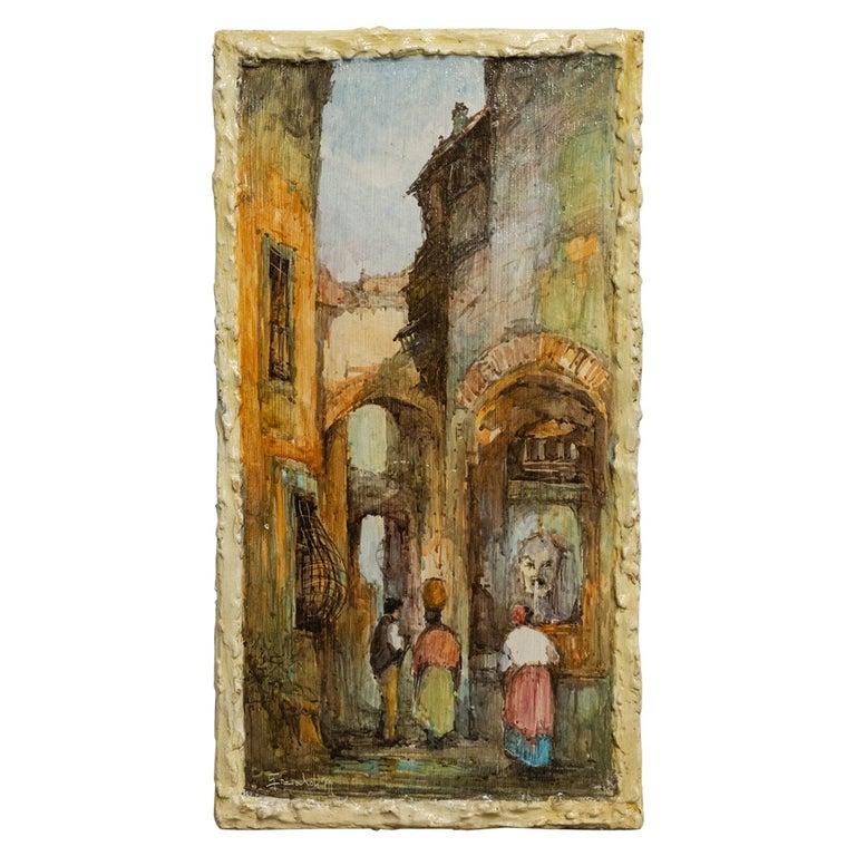 Hand Painted Italian Landscape Ceramic Panel For Sale