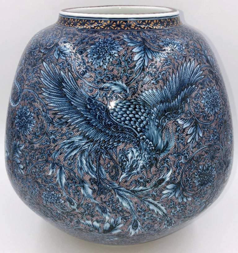 Hand-Painted Hand Painted Japanese Blue Porcelain Vase by Master Artist Duo For Sale