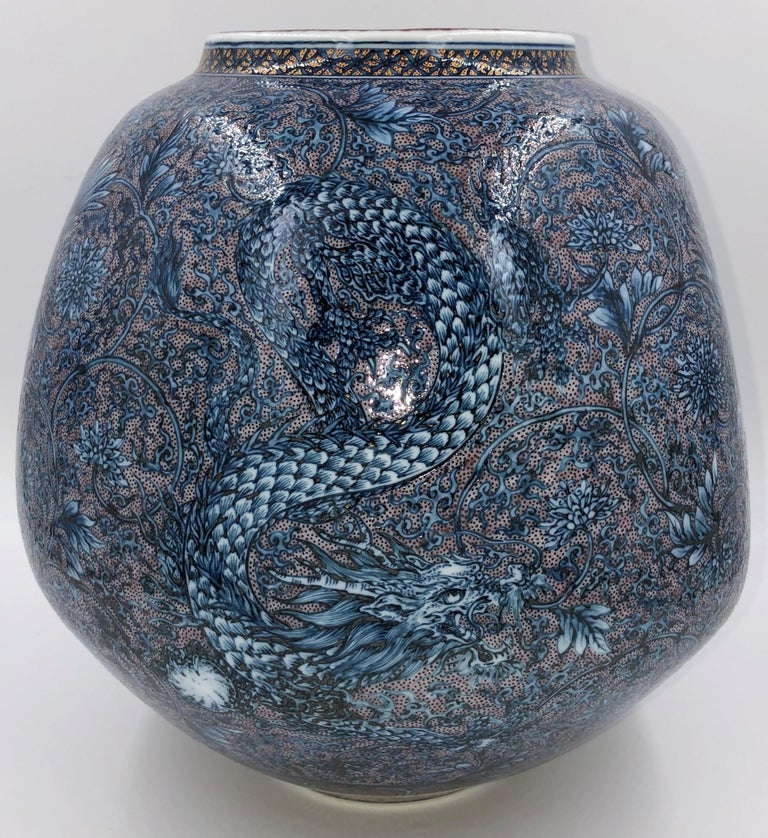 Hand Painted Japanese Blue Porcelain Vase by Master Artist Duo In New Condition For Sale In Vancouver, CA
