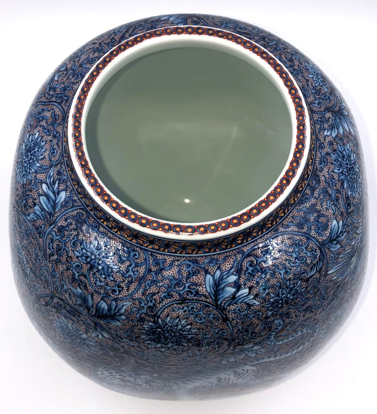 Hand Painted Japanese Blue Porcelain Vase by Master Artist Duo For Sale 3