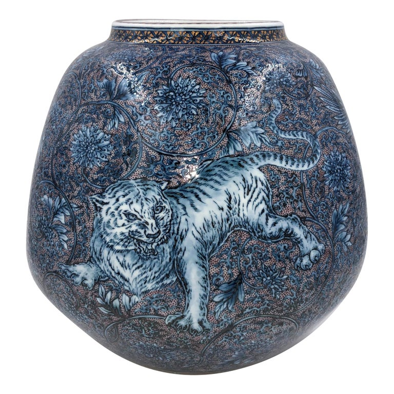 Hand Painted Japanese Blue Porcelain Vase by Master Artist Duo For Sale