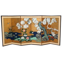 Hand Painted Japanese Folding Screen Byobu Floral Painting, Watercolor Gold Leaf