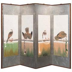 Hand Painted Japanese Folding Screen Byobu Hawks Painting Watercolor Silver Leaf