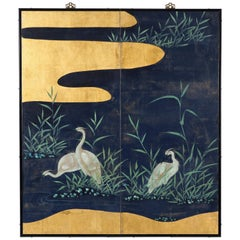 Hand Painted Japanese Folding Screen Byobu of Cranes by the Reeds