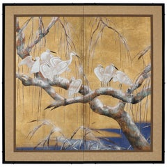 Hand Painted Japanese Folding Screen Byobu of Egrets by the Trees