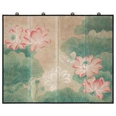 Hand Painted Japanese Folding Screen Byobu of Lotus Pond