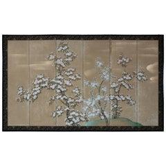 Hand Painted Japanese Folding Screen Byobu of White Sakura Blossom
