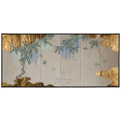 Hand Painted Japanese Folding Screen Byobu of Wisteria by the Pond